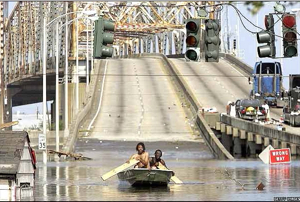 Highway Bridge, 2 Men In Boat