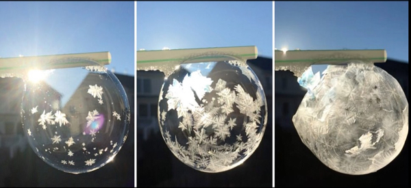 Soap Bubble Ice Crystals