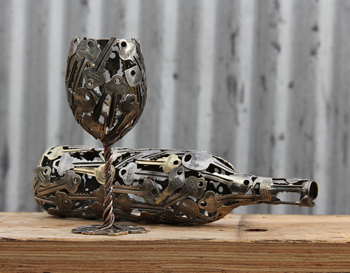 -Discarded-Key-Coin-Sculptures