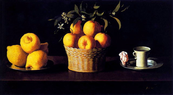 Francisco De Zurbarán - Still-Life With Lemons, Oranges And Rose - Wga26062