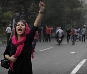 Iranian Woman Upraised Fist