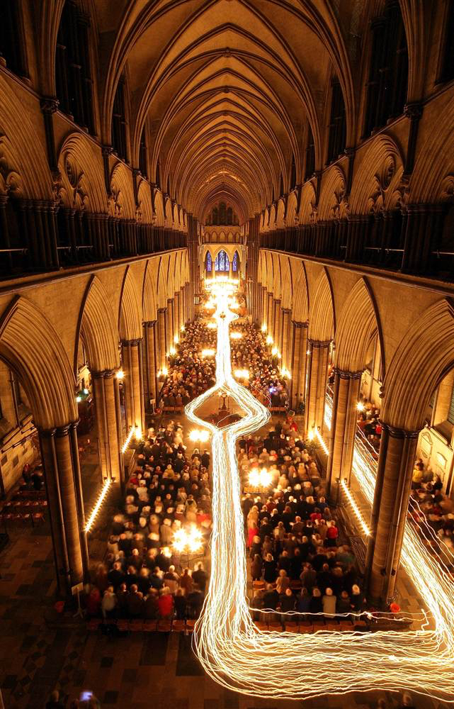 Long Exposure Candlelight Procession Salisbury Cathedral