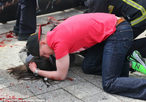 Man-Comforts-Woman Boston Bombings