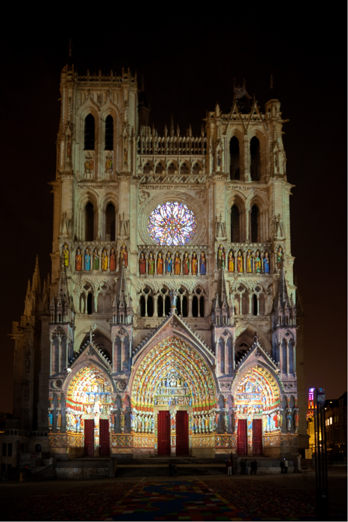 Amiens-Cathedral-West-Facade-Colored-Lighting-2-Of-2