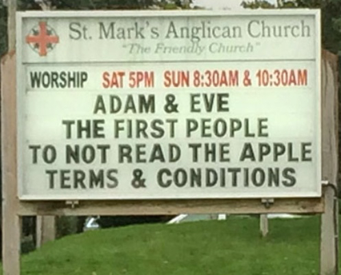 Church Sign Apple Terms