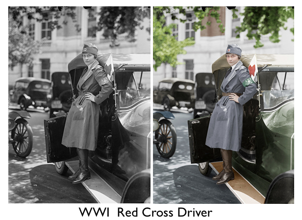 Colorized Ww1 Red Cross Driver