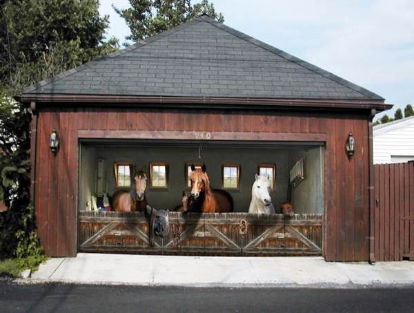 Garage Door Cover.Horses