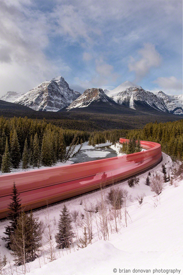 Long Exposure Train Canadian Rockies