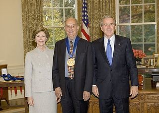 Louis Auchincloss With President Bush