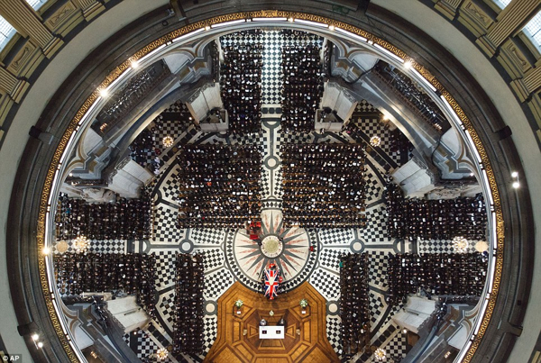 Overhead Thatcher Funeral Stpaul's Dome