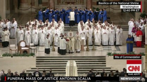 Scalia Casket Approaches Altar